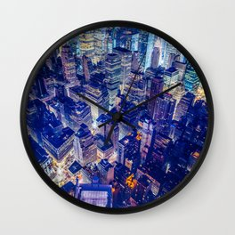 New York city night color Wall Clock