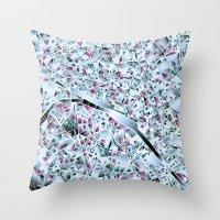 paris map Throw Pillows featuring Paris map by Bekim ART