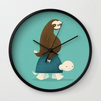 sloths Wall Clocks featuring Slow Ride by Jay Fleck