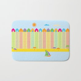 Beach cabins pattern stripes Bath Mat