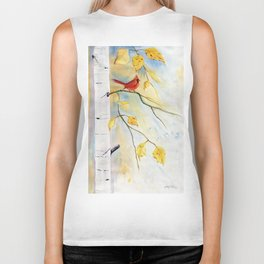 Cardinal on birch Tree Biker Tank