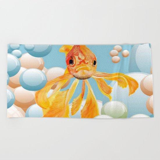 Vermillion Goldfish Blowing Bubbles Beach Towel
