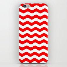 Wavy Stripes (Red/White) iPhone & iPod Skin