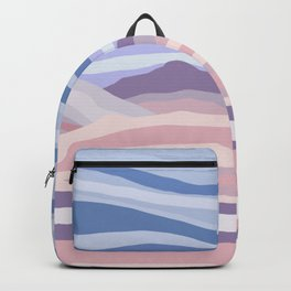 Bohemian Waves // Abstract Baby Blue Pinkish Blush Plum Purple Contemporary Light Mood Landscape  Backpack