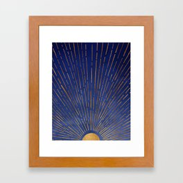 Twilight / Blue and Metallic Gold Palette Framed Art Print