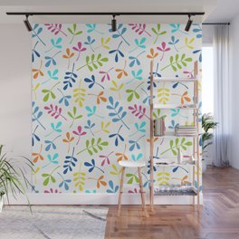 Multicolored Assorted Leaf Silhouette Pattern Wall Mural