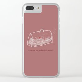 a suitcase too small to hold me back Clear iPhone Case