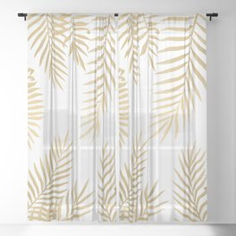 Gold palm leaves Sheer Curtain