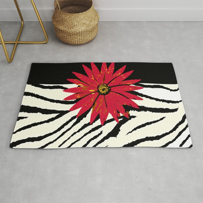 Animal Print Zebra Black And White Red Flower Medallion Rug By Saundramyles