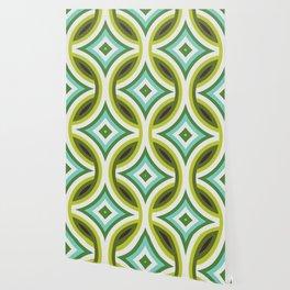Green, Turquoise & Brown Circular Geometric Retro Pattern Wallpaper
