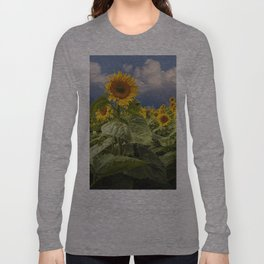 Blooming Sunflowers against a Cloudy Blue Sky Long Sleeve T-shirt