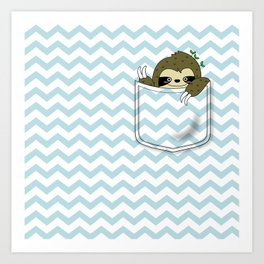 sloth in my pocket Art Print