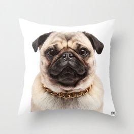 Helmut the Pug - Gold Chain Throw Pillow