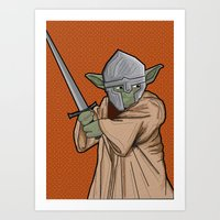 medieval Art Prints featuring Yoda medieval  by  Steve Wade ( Swade)