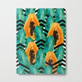 Tropical leaves and papaya Metal Print