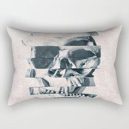 Glitch Skull Mono Rectangular Pillow