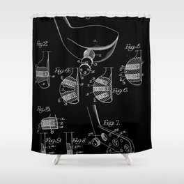Golf Club Blueprint Patent Shower Curtain
