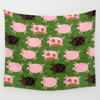pigs Wall Tapestries featuring Pigs by Paper Bicycle