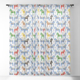 Dala Horse pattern Sheer Curtain