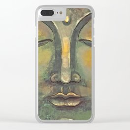 Rusty Golden Buddha Face - Zen and Balance Watercolor Painting Clear iPhone Case