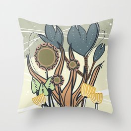 Vintage Retro Garden Throw Pillow