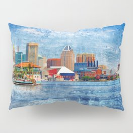 Baltimore Skyline from Locust Point, Pastel Cityscape, Charm City, Maryland Pillow Sham