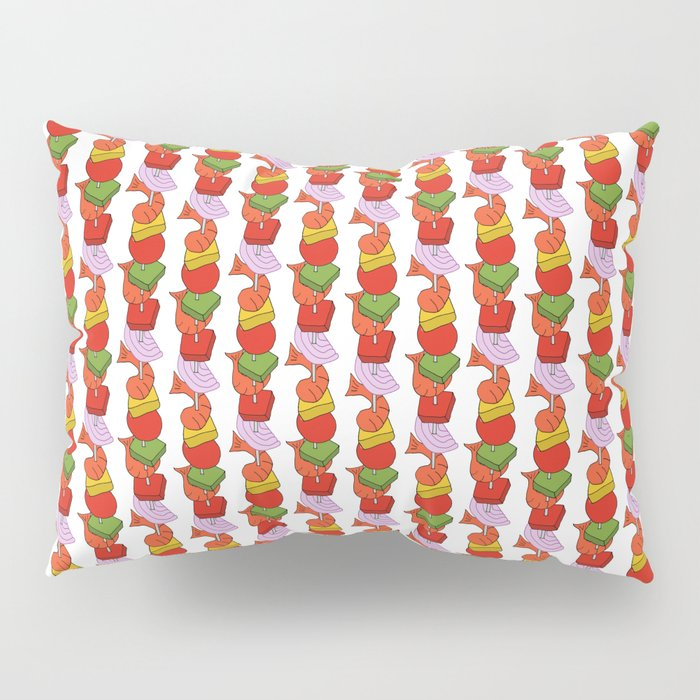 Grilled Veggies - BBQ Doodle Pattern in White Pillow Sham