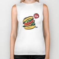 hamburger Biker Tanks featuring Hamburger by skyboysv