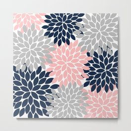 Pink Navy Gray Flower Burst, Flower Petals, Floral Pattern Design Metal Print