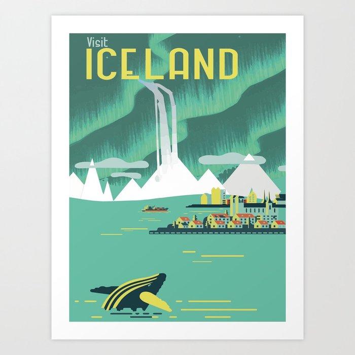 Vintage Mid Century Modern Iceland Scandinavian Travel Poster Ocean Whale Winter Village Kunstdrucke