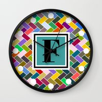 monogram Wall Clocks featuring F Monogram by mailboxdisco