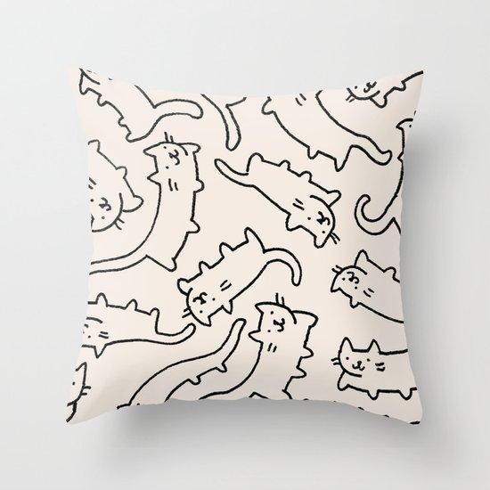 Floating Cats Throw Pillow