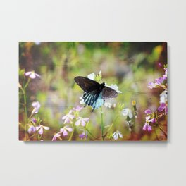 Grungy Blue Swallowtail Butterfly Metal Print