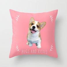 Corgi Hugs and kisses Throw Pillow