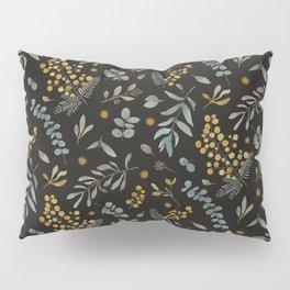 Australian native wattle eucalyptus watercolor floral black Pillow Sham