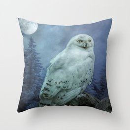 Moonlit Snowy Owl Throw Pillow