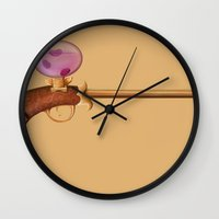 arsenal Wall Clocks featuring Rose Water Pistol by Katie Lawter