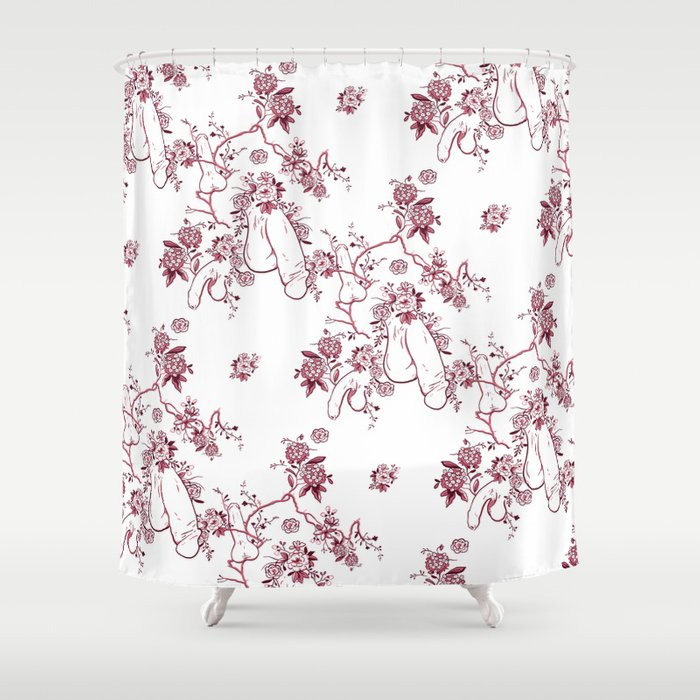 Penis Pattern Red Shower Curtain By Dapperdan Society6