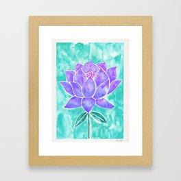 Sacred Lotus – Lavender Blossom on Mint Palette Framed Art Print
