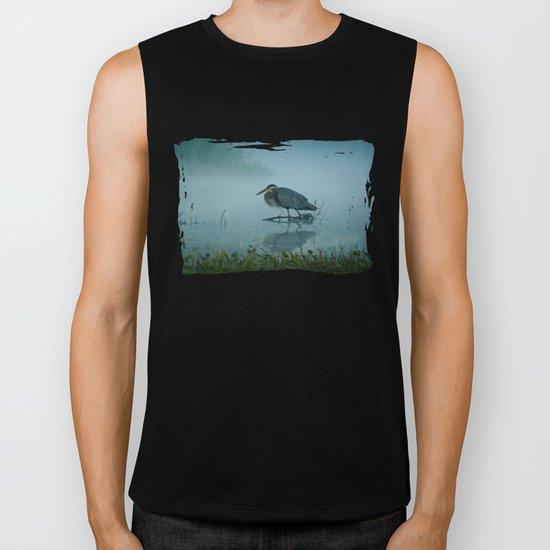 Blue Heron Misty Morning Biker Tank