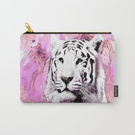 TIGER WHITE WITH CHERRY BLOSSOMS PINK Carry-All Pouch