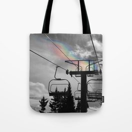 4 Seat Chair Lift Rainbow Sky B&W Tote Bag
