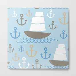 Light Blue background. Boat with white sails, sea anchor Metal Print