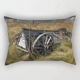 Old Broken Down Wooden Farm Wagon in the Grass Rectangular Pillow
