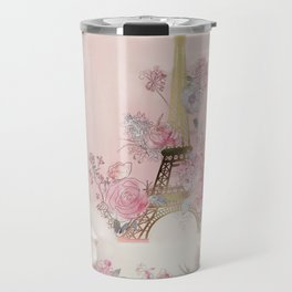 Paris Pink Roses Eiffel Tower Floral Pink Flowers Home Decor Travel Mug