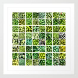 Fruit & Vegetables. Home Decor: Modern, colorful collage for your kitchen, home and cafe. Art Print