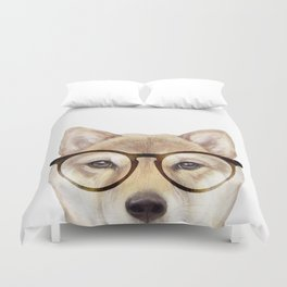 Shiba inu with glasses Dog illustration original painting print Duvet Cover