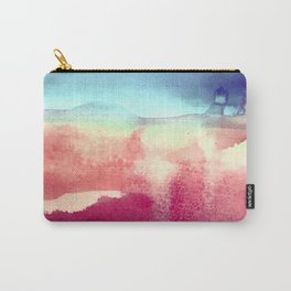 Tie-Dye Watercolor Blues, Greens, Pale Yellow, Dark Pinks Abstract Design Carry-All Pouch