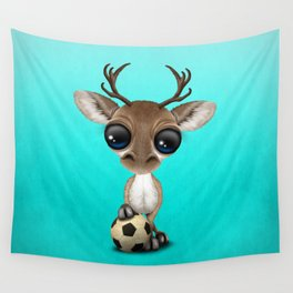 Cute Baby Reindeer With Football Soccer Ball Wall Tapestry