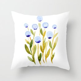 Simple watercolor flowers - blue and green Throw Pillow
